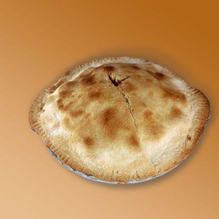 gloden: Apple Pietop view of apple piefood,item,apple pie,apple,pie,crisp,crust,whole,top,complete,round,pan,gloden brown,golden,knife,cut,cutting,edge
