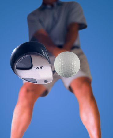 addressing: golfer addressing a ball for his tee shot Stock Photo