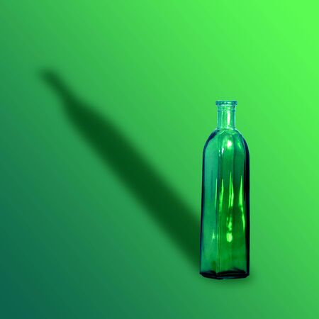 Empty green vase with shadow