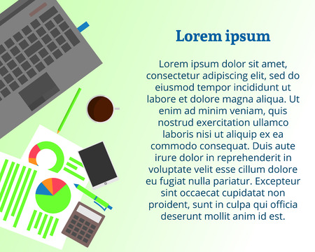 lay: Laptop with coffee cup, smartphone, analytic documents. Flat lay style. Vector illustration