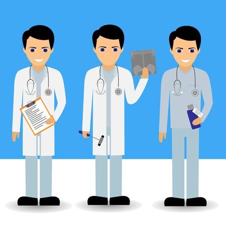affable: Vector set of doctors. Vector cartoon illustration.