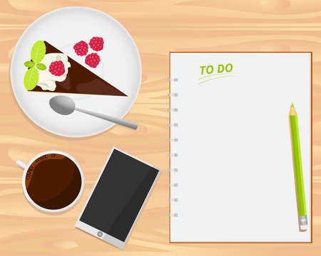 blanc: Vector coffee cup, cake, smartphone and notebook on wood background. Flat lays style.