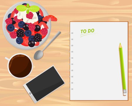 fruit salad: Vector coffee, fruit salad, smartphone and notebook on wood background. Flat lays style. Illustration