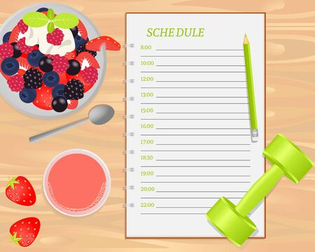fruit salad: Vector fruit salad, strawberry juice, weight and notebook with schedule on wood background. Flat lays style. Illustration