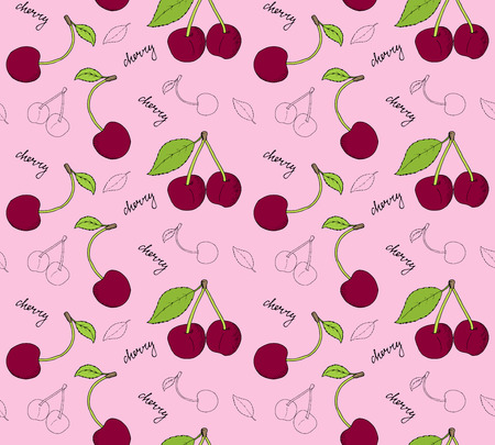 palatable: Hand drawn cherries seamless pattern. Vector illustration.