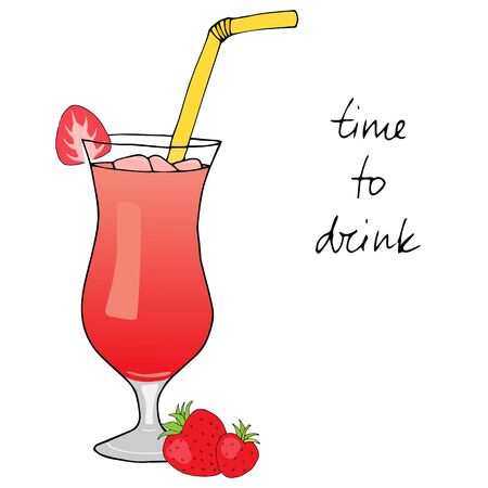 tubule: Hand drawn strawberry cocktail with ice, straw and strawberries on white background. Isolated cocktail and strawberries. Time to drink. Vector illustration.
