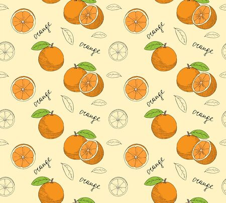 palatable: Hand drawn oranges seamless pattern. Vector illustration.