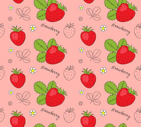 dulcet: Hand drawn strawberries seamless pattern. Vector illustration.