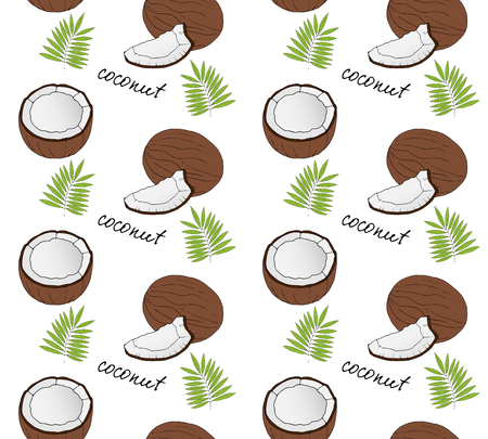 dulcet: Hand drawn coconut seamless pattern. Vector illustration.