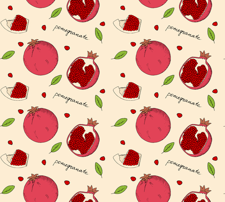 palatable: Hand drawn pomegranate seamless pattern. Vector illustration.