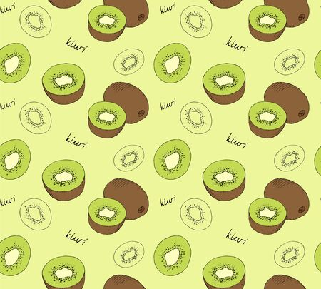 palatable: Hand drawn kiwi seamless pattern. Vector illustration.