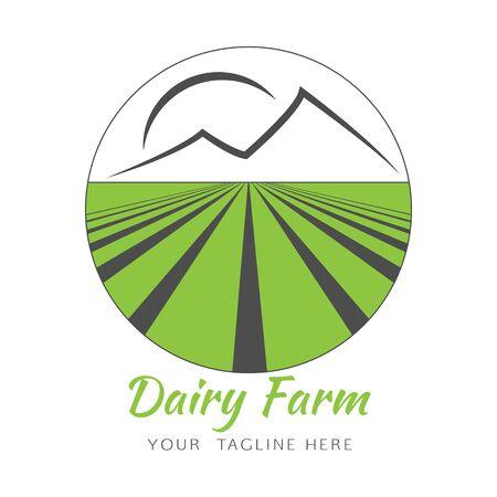 Vector logo modèle de conception dans le cercle avec l'agriculture sur le terrain, les montagnes et le soleil. concept abstrait pour la ferme laitière, l'agronomie. Vert logo agriculteur.