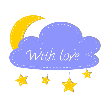 sewed: Cloud, moon and stars made with felt. Design concept for hand made sewed and felt products. Vector logo design template. Illustration