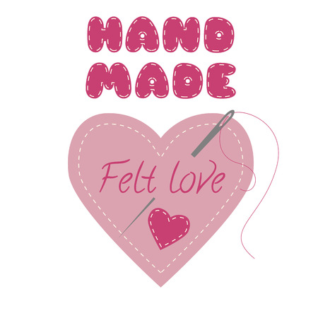 Heart made with felt. Design concept for hand made sewed and felt products. Vector logo design template.