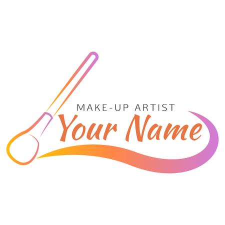 Cepillo del maquillaje con línea curva. Concepto de diseño abstracto para el salón de belleza, artista de maquillaje, cosmético. la insignia del vector plantilla de diseño.