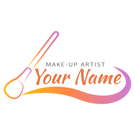 Vector Logo Design Template Makeup Brush With Curved Line Abstract Concept For Beauty Salon Artist