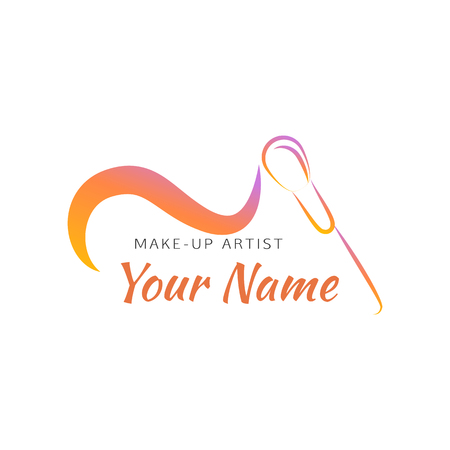 makeup artist: Makeup brush with curved line. Abstract design concept for beauty salon, makeup artist, cosmetic. Vector logo design template.