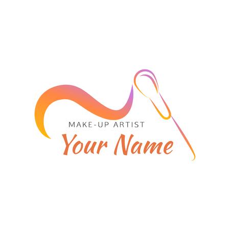 pinceau de maquillage avec ligne courbe. concept abstrait pour salon de beauté, artiste de maquillage, cosmétique. Vector logo modèle de conception. Logo