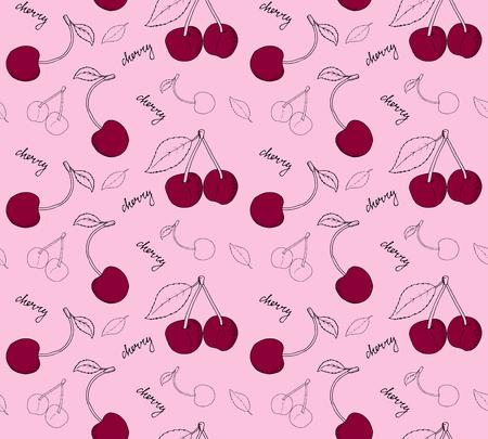 cherries seamless pattern. illustration. Illustration
