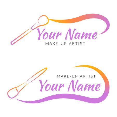 curved line: Makeup brush with curved line. Abstract design concept for beauty salon, makeup artist, cosmetic.  design template.