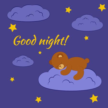 Bonne carte de nuit. petit ours mignon de dormir sur le nuage dans le ciel de nuit avec des étoiles.