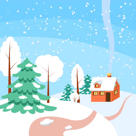 snowcovered: Powdered with snow house, trees and spruces on snow-covered ground. Illustration