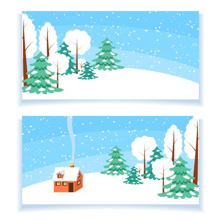 snowcovered: Set of two winter horizontal banners. Powdered with snow house, trees and spruces on snow-covered ground. Illustration