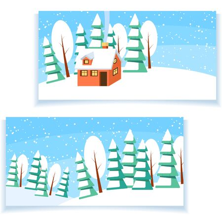 snow house: Set of two winter horizontal banners. Powdered with snow house, trees and spruces on snow-covered ground. Illustration