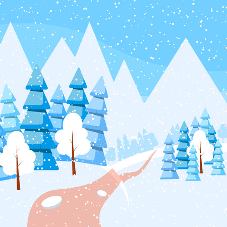 snowcovered: Powdered with snow trees, spruces, mountains on snow-covered ground.