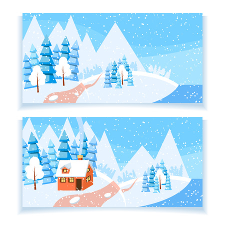 Set of two winter horizontal banners. Powdered with snow house, trees and spruces on snow-covered ground. Illustration