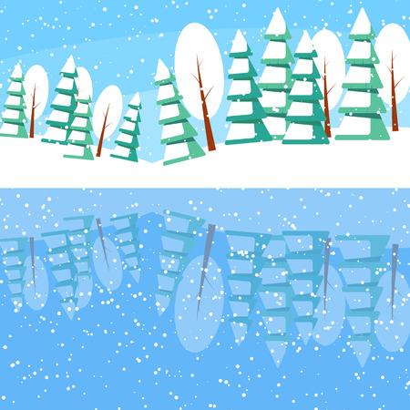 reflexion: paisaje de invierno con árboles y abetos en polvo en el lago. Reflexión de la naturaleza en el agua.