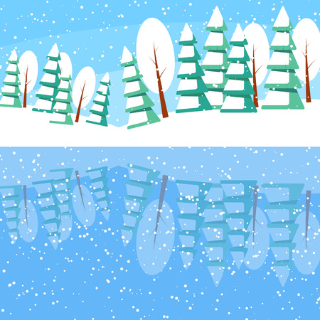 reflexion: Winter landscape with powdered trees and spruces on the lake. Reflexion of nature in the water.