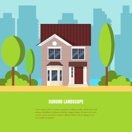 Modern stylish suburb landscape with house, trees in beautiful yard on green grass and city background. Vector illustration. Flat style house building.