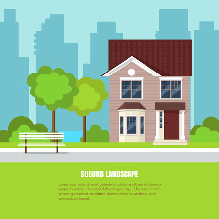 Modern stylish suburb landscape with house, trees, bench in beautiful yard on green grass and city background. Vector illustration. Flat style house building. Illustration