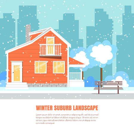 yard sale: Winter suburb landscape with powdered house, trees on snow-covered ground and city background.Vector illustration. Flat style. Concept for winter, Christmas, New Year congratulation, sale card, flyer.