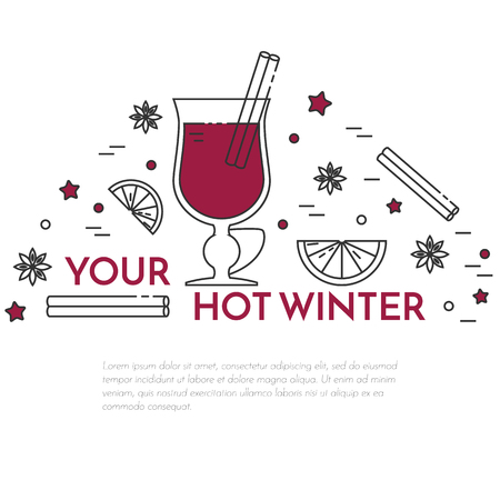 Winter horizontal mulled wine banner. Flat linear stile. Vector illustration. Vinous concept for autumn, winter, Christmas, New Year congratulation, sale, business card, sales flyer, cafe invitation Illustration