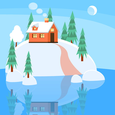 Winter landscape with powdered house, trees, spruces on snow-covered ground on lake.Vector illustration. Flat style. Concept for winter, Christmas, New Year congratulation, sale, business card, flyer.