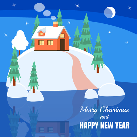 yard sale: Winter landscape with powdered house, trees, spruces on snow-covered ground on lake.Vector illustration. Flat style. Concept for winter, Christmas, New Year congratulation, sale, business card, flyer.