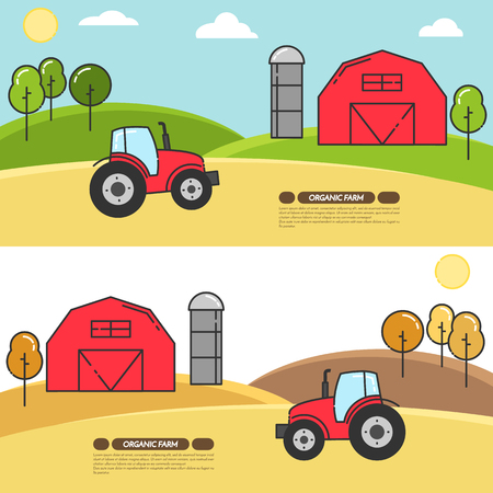 farmhouse: Farmhouse horizontal banner. Farm landscape with barn, tractor, fields. Concept for farmer business, farming, organic, eco, fresh, bio, agricultural products advertise Flat linear vector illustration