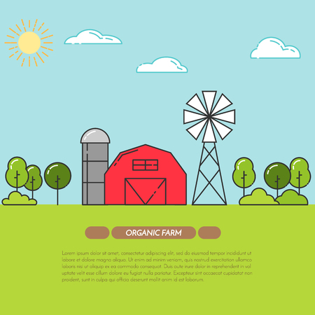 farmhouse: Farmhouse horizontal banner. Farm landscape with barn, windmill. Concept for farmer business, farming, organic, eco, fresh, bio, agricultural products advertise Flat linear vector illustration