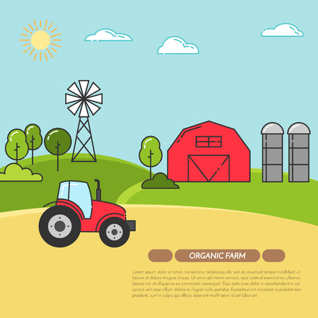 Farmhouse horizontal banner. Farm landscape with barn, tractor, fields. Concept for farmer business, farming, organic, eco, fresh, bio, agricultural products advertise Flat linear vector illustration