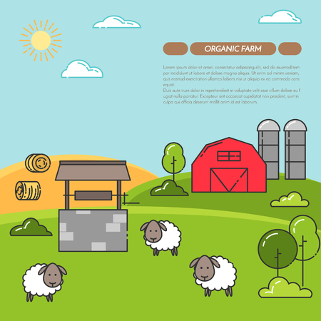 Farmhouse horizontal banner. Farm landscape with barn, sheeps. Concept for farmer business, farming, organic, eco, fresh, bio, agricultural products advertise Flat linear vector illustration