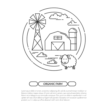 farmhouse: Farmhouse horizontal banner. Farm landscape with barn, windmill. Black and white concept for farming, organic, eco, fresh, bio, agricultural products advertise Flat line art vector illustration Illustration