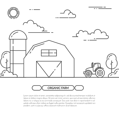farmhouse: Farmhouse banner. Farm landscape with barn, windmill, tractor. Black and white concept for farming, organic, eco, fresh, bio, agricultural products advertise Flat line art vector illustration