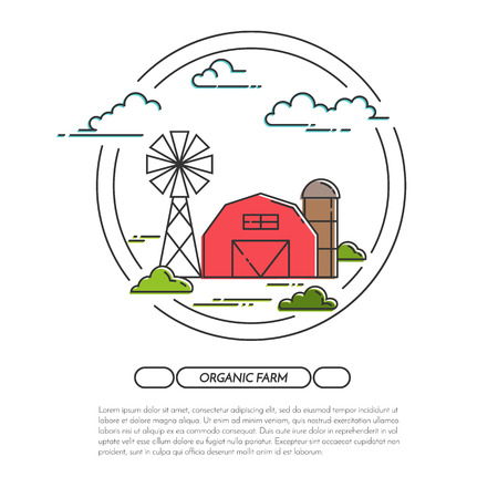 farmhouse: Farm horizontal banner. Farmhouse landscape with barn, windmill. Black and white concept for farming, organic, eco, fresh, bio, agricultural products advertise Flat line art vector illustration Illustration