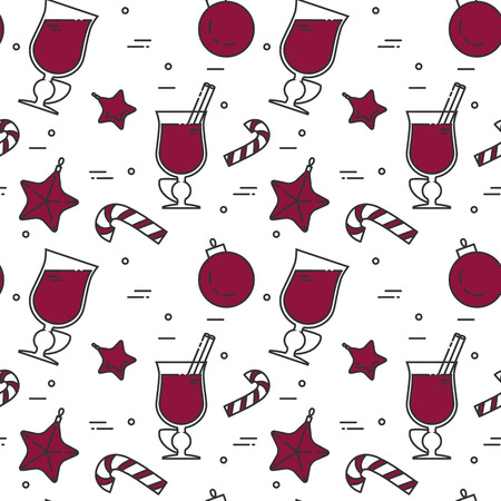 Winter mulled wine seamless pattern. Flat line art stile. Vector illustration. Vinous concept for autumn, winter, Christmas, New Year congratulation, sale website, textile pattern, wallpaper, wrapping