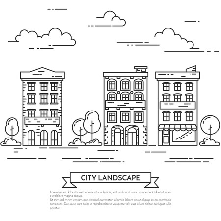 housing estate: City landscape with houses, trees and clouds.Vector illustration. Flat line art style. Concept for building, housing, real estate market, architecture design, property investment flyer, banner, card.