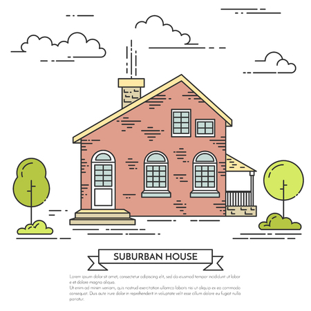 Suburb landscape with private separate house, trees and clouds.Vector illustration. Flat line art style. Concept for building and housing business card, advertise flyer, banner, poster.