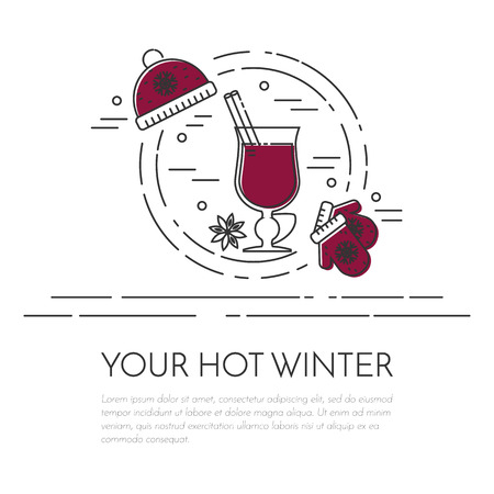 Winter horizontal mulled wine banner. Flat line art stile. Vector illustration. Vinous concept for winter, Christmas, New Year congratulation, sale, business card, sales flyer, cafe invitation
