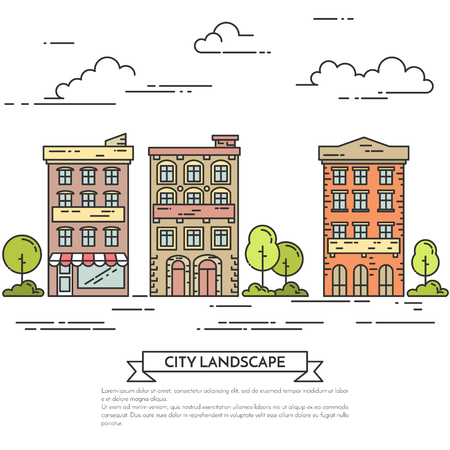 housing style: City landscape with houses, trees and clouds. Vector illustration. Flat line art style. Concept for building, housing, real estate market, architecture design, property investment flyer, banner, card. Illustration